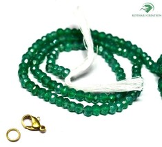 "COATED GREEN ONYX GEMSTONE 3-4MM RONDELLE FACETED BEADS 18"" LONG CHOKER ... - $14.12"
