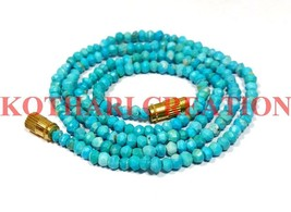 "Natural Turquoise Gemstone 3-4mm Rondelle Faceted Beads 18"" Long Beaded ... - $16.13"