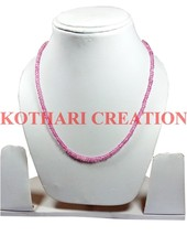 "COATED PINK COLOR CRYSTAL 3-4MM RONDELLE FACETED BEADS 21"" LONG BEADED N... - $14.65"