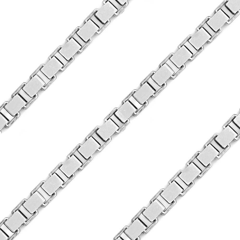 Men/Women's Stylish Italy 925 Silver Gauge Thin Box Link Italian Chain 3.8mm