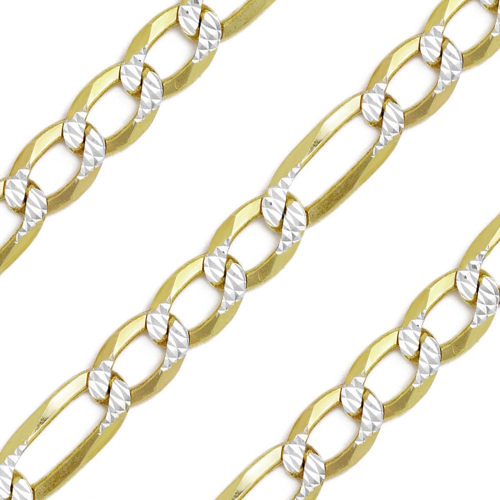 Men/Women's Stylish 14K YG Silver Diamond Cut Figaro Link Italian Chain 7.8mm