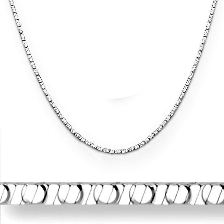Men/Women's Stylish 1mm 4 Sided 925 Silver 14k WG Snake Link Italian Chain