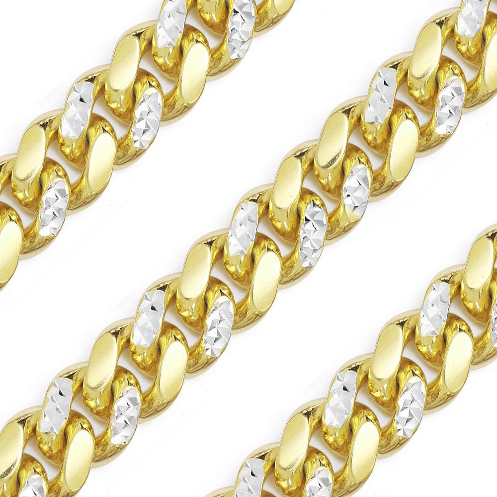 Men's 14K YG Plated Diamond Cut 925 Silver Miami Cuban Chain 10.3mm