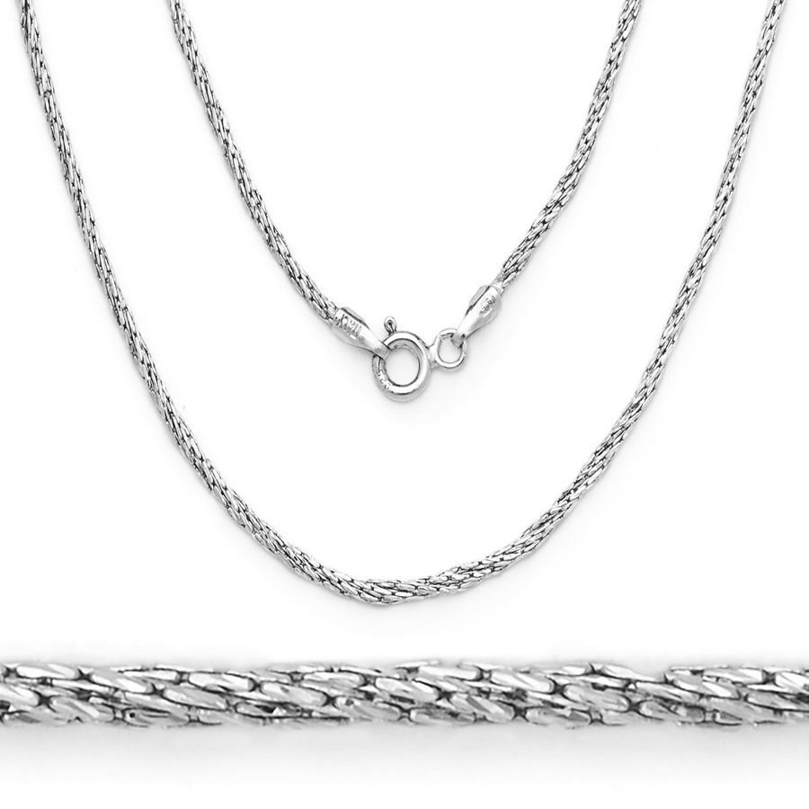 Stylish Italy 925 Silver 14K WGP Twist Rope Boston Cardano Link Italian Chain
