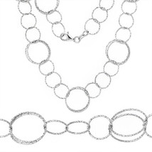 Women's 925 Silver 14k White Gold Circle Coil Cable Link Chain Italian Necklace - $68.88+