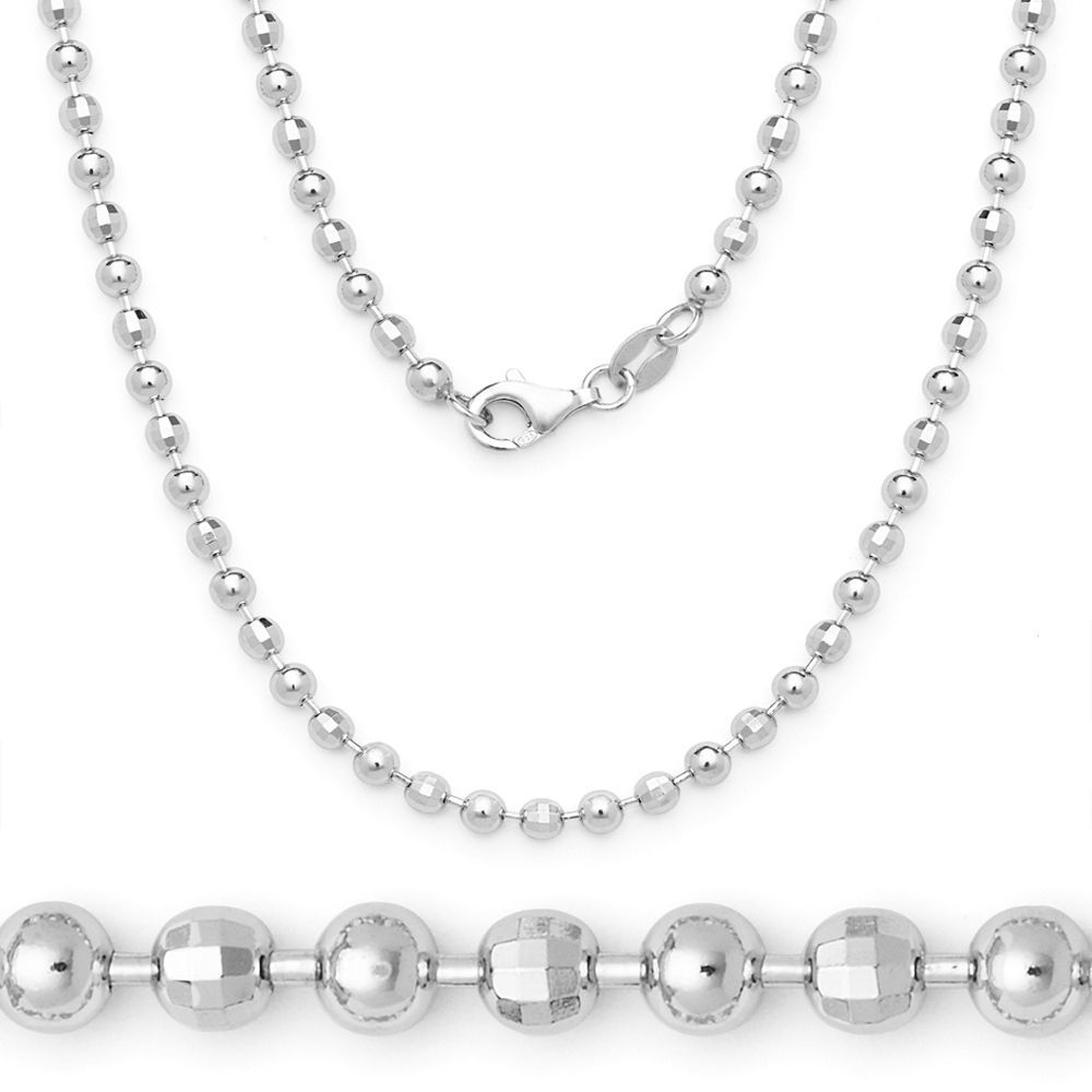 Women's Stylish 4.1mm Ball Faceted Bead Chain Necklace Italy 925 Silver 14k WG