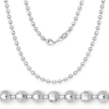 Women's Stylish 4.1mm Ball Faceted Bead Chain Necklace Italy 925 Silver ... - $127.45+