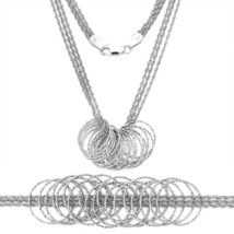 Unique 925 Silver 14K WG Rope Link Multi Chain w/ Circles - $88.72