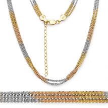 Unique Men/Women's 925 Silver 14K Yellow & Rose Gold Rock Link Rope Multi Chain - $73.06