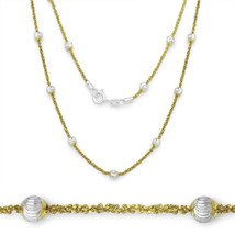 Women's Bead & Popcorn Link Italian 925 Silver 14k Yellow Gold Italy Necklace - $30.99+