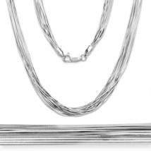 Women's Unique 925 Silver 14k WG Snake Link Multi Chain Necklace & Bracelet - $74.91+