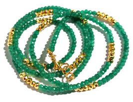 "NATURAL GREEN ONYX AND GOLD PYRITE 3-4MM RONDELLE FACET BEAD 36"" BEADED ... - $29.14"