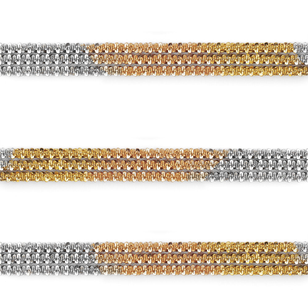 Unique Men/Women's 925 Silver 14K Yellow & Rose Gold Rock Link Rope Multi Chain