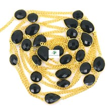 """Natural Black Onyx Stone Brass 18 K Gold Plated 36"""" Long Chain Vintage Necklace - $26.53"""