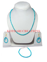 """Natural Turquoise Stone 3 4 Mm Rondelle Faceted Beads 18"""" Long Statement Necklace - $20.05"""