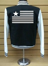 Varsity Collage Baseball BLACK/WHITE Fleece Jacket American Flag - $29.69