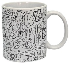 DCI Color Joy Adult Coloring Products, Custom Coffee Mug, Nautical Design, White - $9.89
