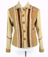 SANDY STARKMAN Size S Embellished Jacket Beads Wood Mint Cond - $38.99