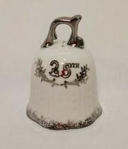 "25th Anniversary Bell Lefton White Silver Wedding Gift Vintage Japan 3"" - $17.89"