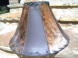 Western Cowhide Leather Lamp Shade with partial branding iron mark 1372 bz - $169.98