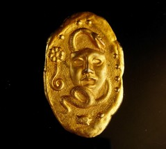 exotic  Snake brooch - golden mask - abstract  Modernist pin - Vintage F... - $95.00