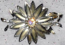 VTG LOT RHINESTONE HUGE FLOWER SILVERTONE PIN BROOCH FLORAL CLIP EARRING... - $167.99