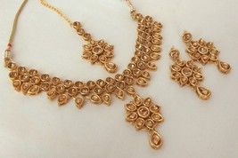 Indian Ethnic Gold Plated Kundan Golden Bridal Wedding Jewelry Necklace Set - $14.49