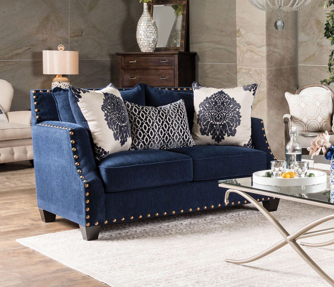 Lela Loveseat Navy Nailhead Sloped Arm Contemporary Modern Design
