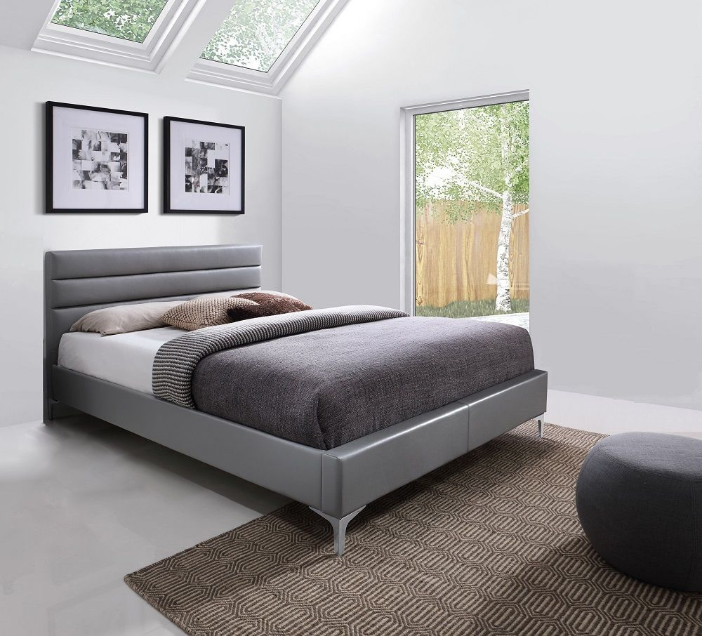 J&M Nario Grey Queen Size Bed Chic Contemporary Modern style