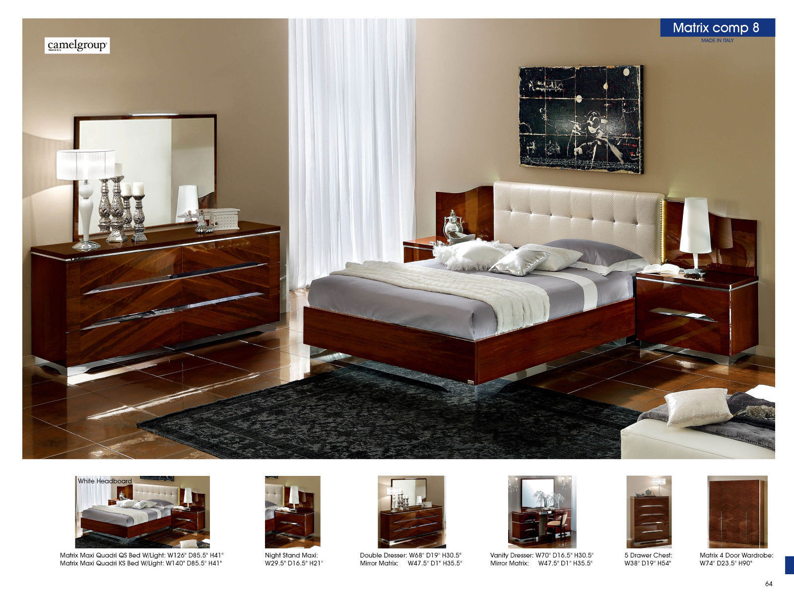 ESF Matrix Bedroom Set Queen Bed Modern Contemporary Made in Italy