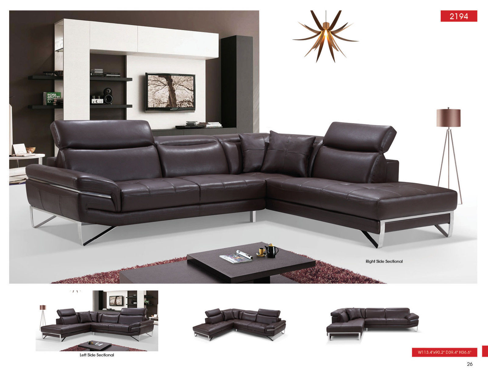 ESF 2194 Leather Sectional Sofa Brown Chic Contemporary Modern Right Hand Facing