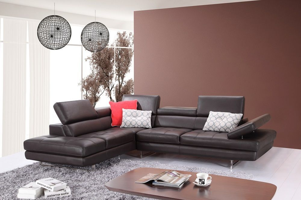 J&M A761 Brown Full Top Grain Leather Italian Sectional Sofa Modern Left