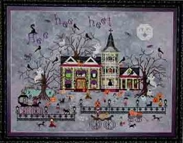 Croaking Toad Manor halloween cross stitch chart Praiseworthy Stitches - $12.60