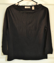 Women's Knit Top KATE HILL SZ Medium Black Rayon Nylon Scoop Neck 3/4 Sl... - $14.45