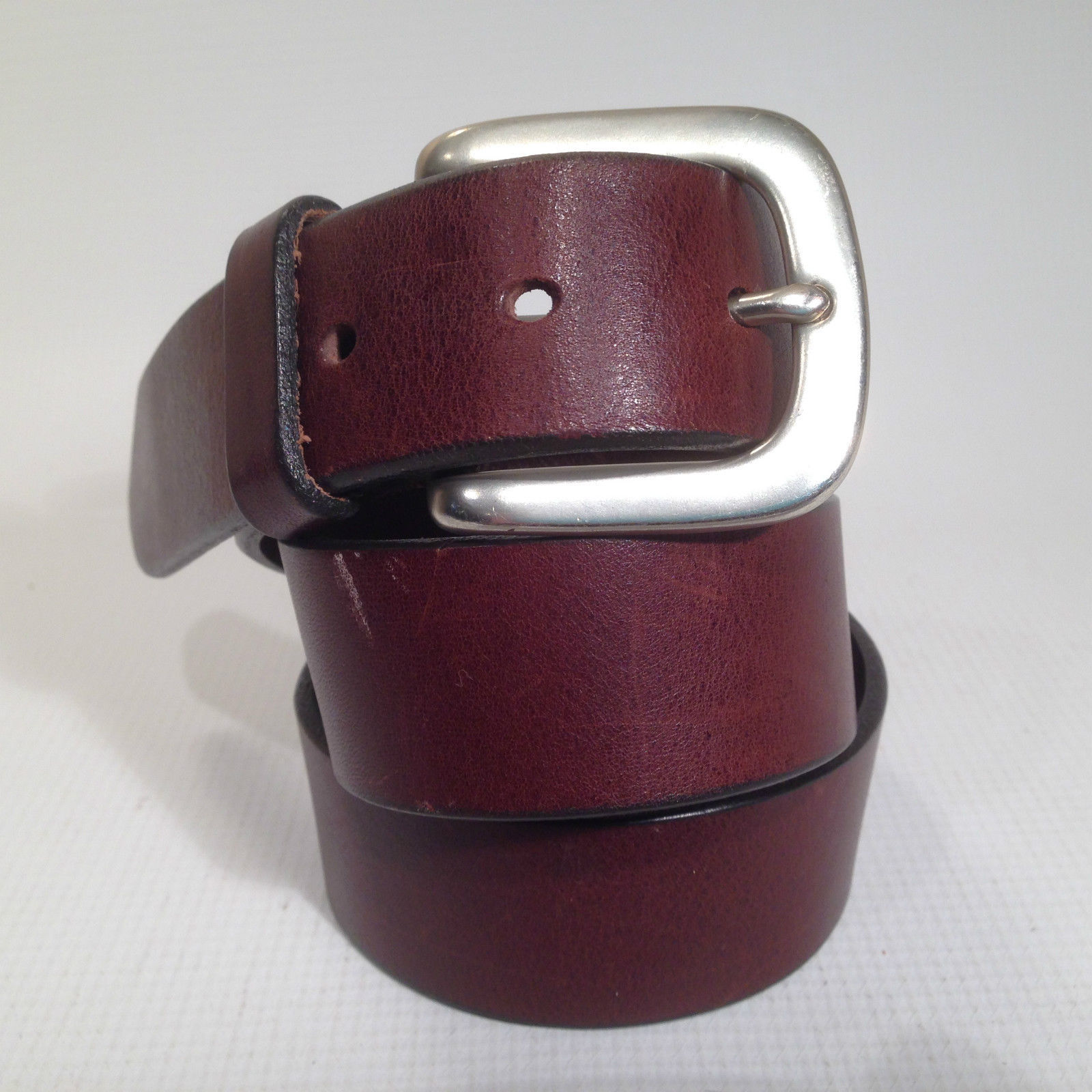 navy brown leather belt solid brass buckle sz small 34