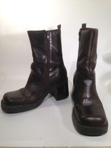 VTG MIA Brown Leather BOOTS Stocky Heel ANKLE Zip Size 7 1/2 Medium - $18.28