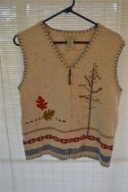 TEDDI Sweater Vest Zip Front SOFT BEIGE w Applique & Border SZ PS - $14.00