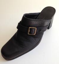 Gianni Bini Mules Heels 8 Medium Black Leather Buckle Wrap Strap - $22.71