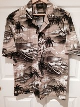 ROYAL CREATIONS SZ L NEW 100% COTTON Hawaiian Shirt Browns Beiges - $23.21