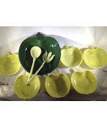 Vintage Mid Century Mod Apple Bowl 9 Piece Set Fruit Bowls Salad Hazel A... - $22.54