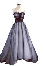 An item in the Fashion category: Rosyfancy Black Over White Lace Accent Wedding Gown Quinceanera Evening Dress