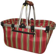 """JanetBasket Large Aluminum Frame Basket-18""""X10""""X9.5"""" Red Stripes - $33.05"""
