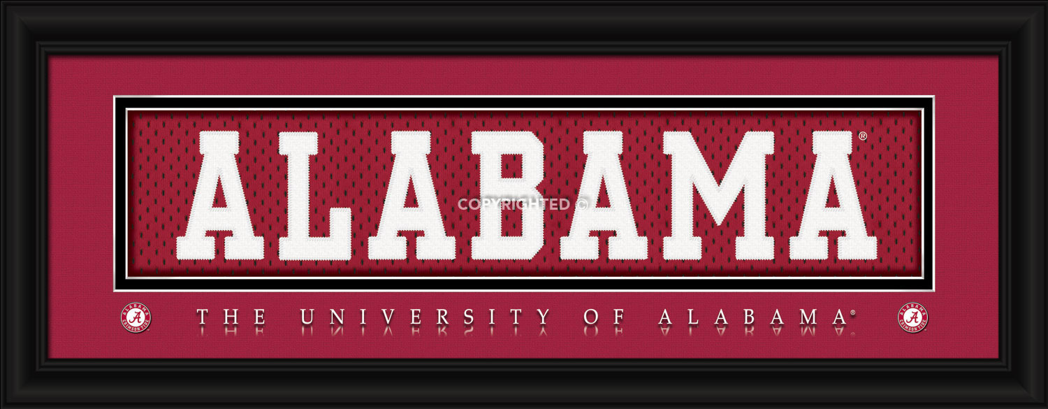 University of Alabama Officially Licensed Stitched Jersey Framed Print-3 Designs