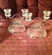 Clear Glalss Double Candle Holders Mid Century Vintage Jeanette - $25.69