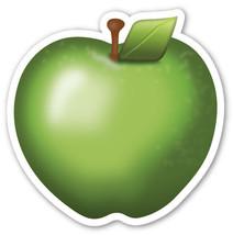 Emoji Green Apple fruit shaped vinyl sticker 100mm or 150mm app iPhone food - $3.00+