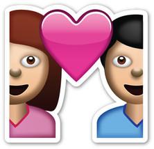 Emoji Couple Heart shaped vinyl sticker 100mm or 150mm Valentines Day lo... - $3.00+