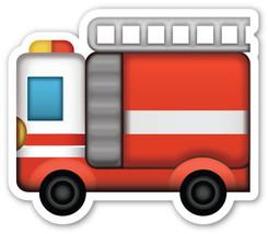 Emoji Firetruck Fire Engine shaped vinyl sticker 100mm or 150mm fireman ... - $3.00+