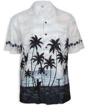 Surfing Aloha Hawaiian Shirt, GRAY, LARGE - $42.95