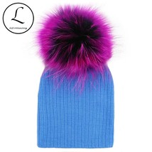 GZHILOVINGL Crochet Baby Hat Big Real Raccoon Fur Ball Baby Girl Cap Cot... - $17.90