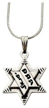 Judaica Shema Israel Rhodium Magen David Star Pendant & Necklace Kabbalah